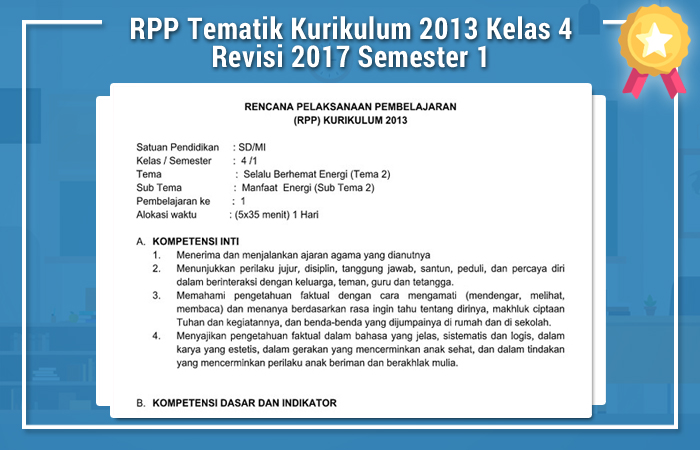 RPP Tematik Kurikulum 2013 Kelas 4 Revisi 2017 Semester 1
