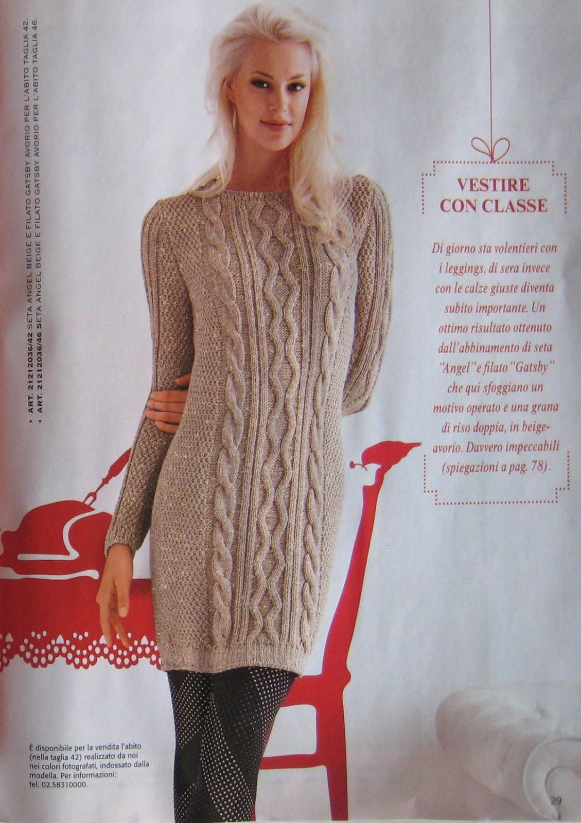 Вязание: Вязаное платье с косами