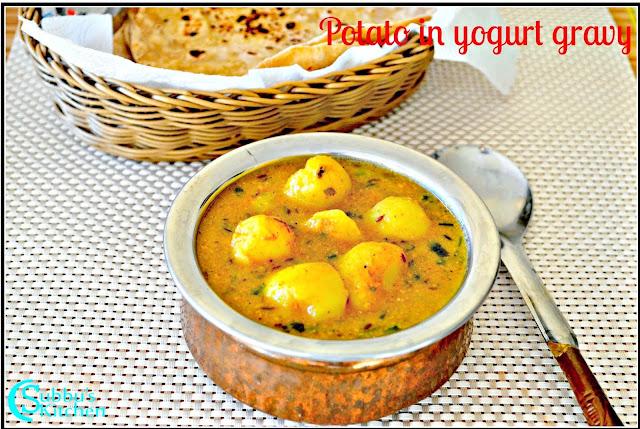 Potato-Curd Gravy Recipe | Potato in Yogurt Gravy Recipe