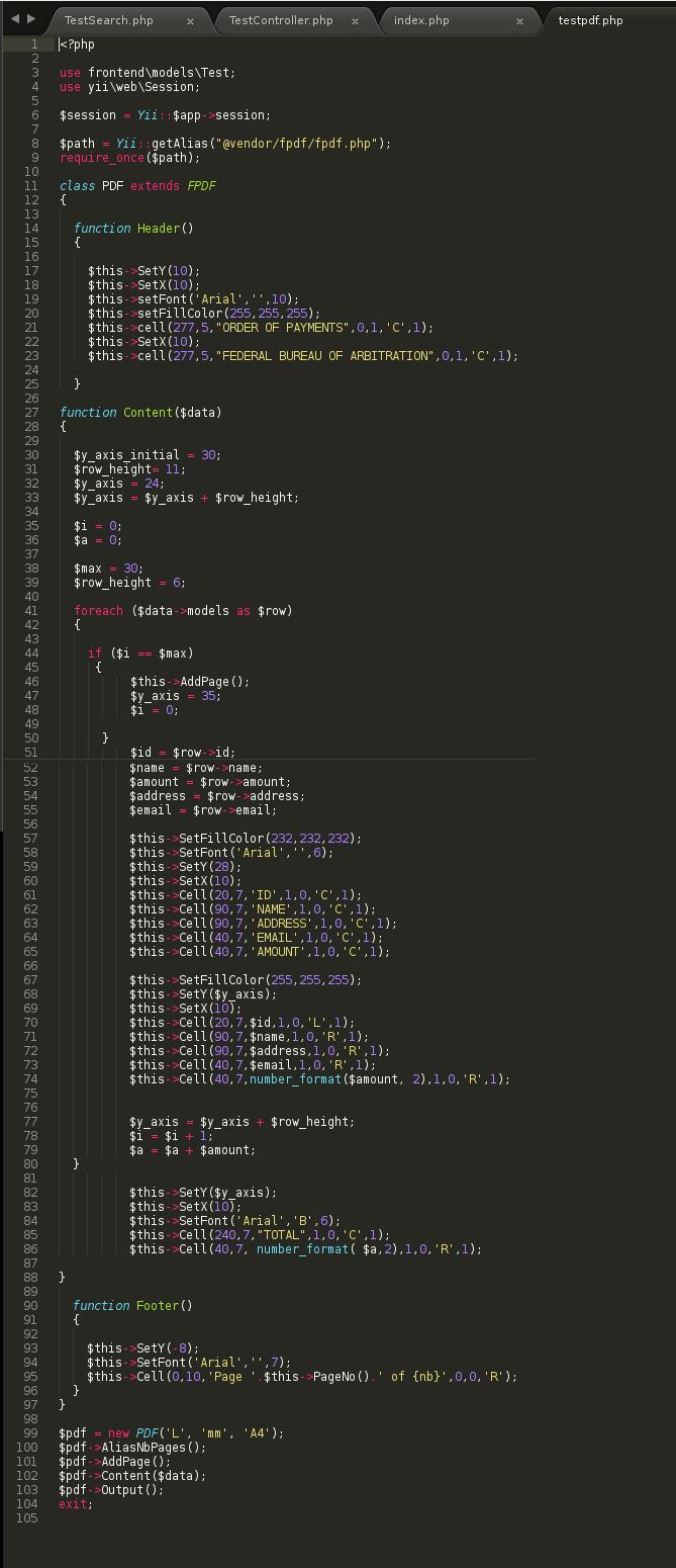 Unix Enthusiast Yii2 Integrate Fpdf In Yii2