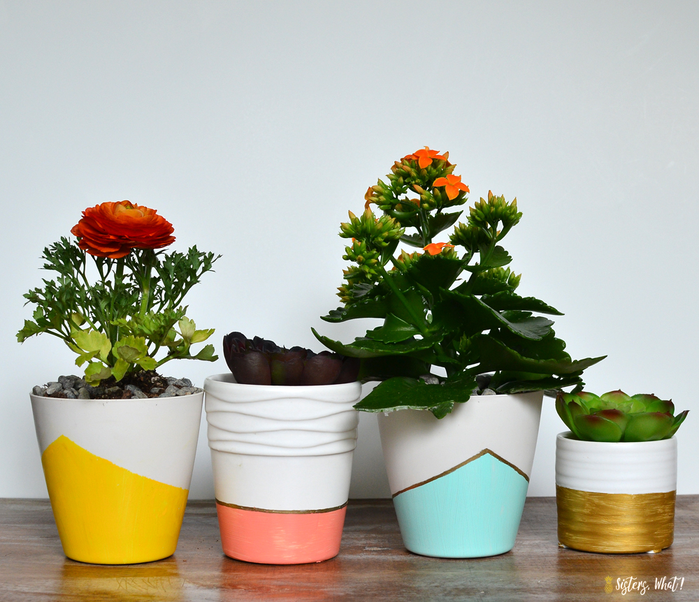 use frogtape to create a color block pattern on succulent pots
