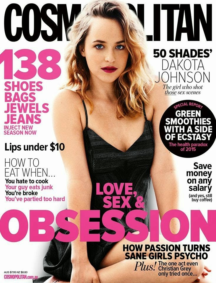 Dakota Johnson covers Cosmopolitan Australia April 2015 in a black slip dress