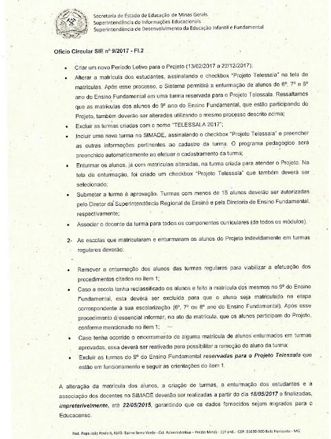 Orientações sobre o Projeto de Elevação da Escolaridade - TELESSALA