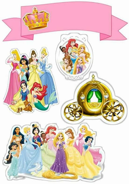 Princesas Disney: Toppers para Tartas, Tortas, Pasteles, Bizcochos o Cakes para Imprimir Gratis.