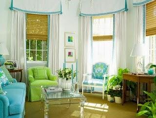 sala en celeste y verde
