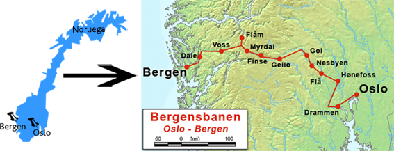 Recorrido del tren de Oslo a Bergen