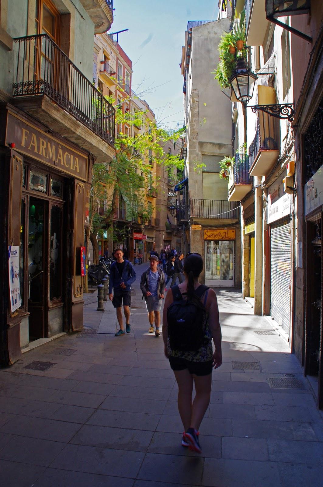 Simone walking through Gothic Quarter Barcelona