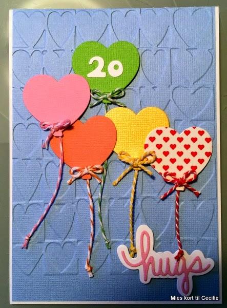 20 års kort Hjemme hos Charlie: Mies kort til Cecilie's 20 års fødselsdag. 20 års kort