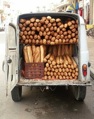 French baguette delivery truck in the french countryside