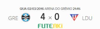 O placar de Grêmio 4x0 LDU Quito-EQU pela 2ª rodada da Copa Libertadores da América 2016.