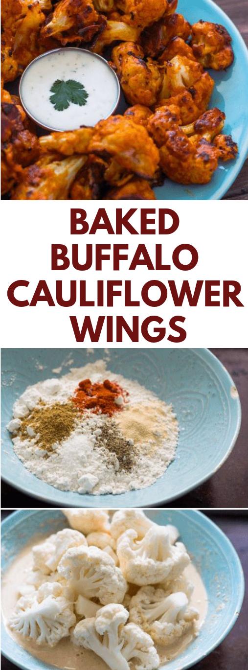 BAKED BUFFALO CAULIFLOWER WINGS #vegan #buffalo