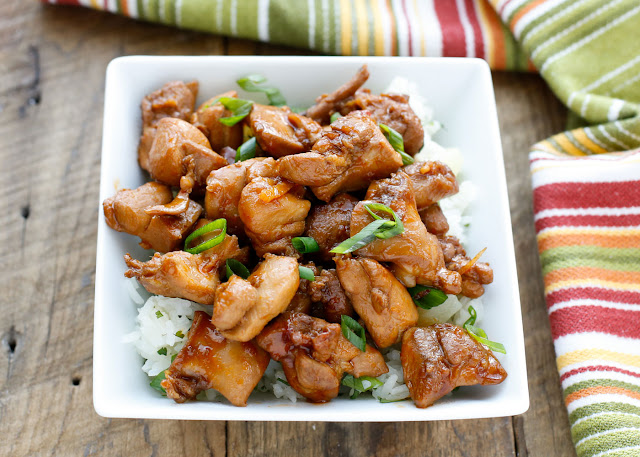 Huli Huli Chicken Bites - sticky, sweet, and tangy bites of chicken with all the flavors of Hawaii! - get the recipe at barefeetinthekitchen.com