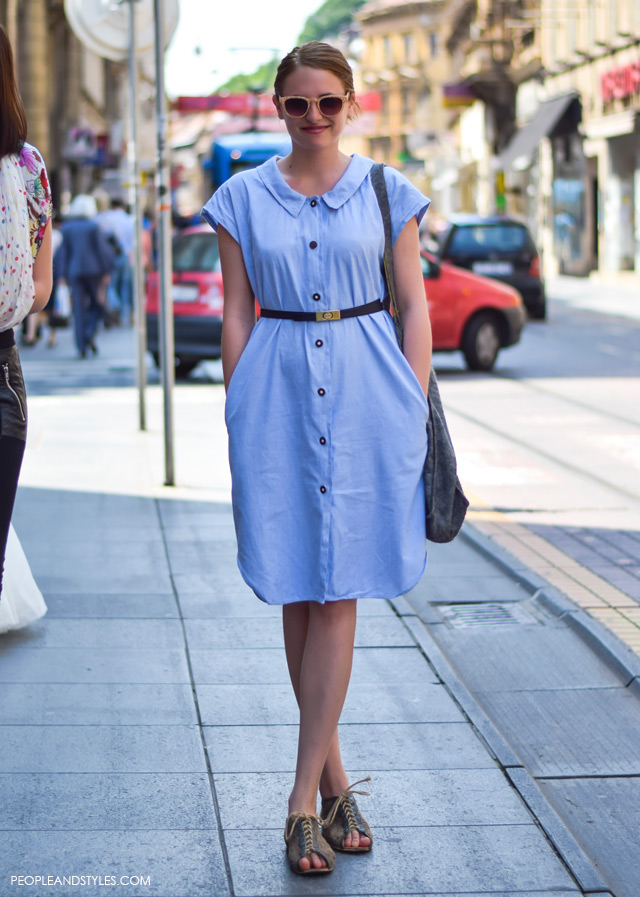 Zagreb street style 2015, How to style vintage denim dress, street style looks May, Zagreb, Croatia, Daria Čičmir, grafička dizajnerica, vintage jeans dress