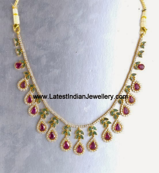 Designer CZ Gold Necklace