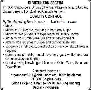 Lowongan Kerja PT. SBF Shipbuilders