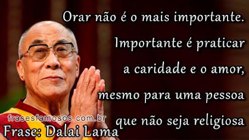 Mensagem Dalai Lama sobre praticar a caridade e amor