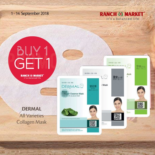RanchMarket - Promo Buy 1 Get 1 Produk Dermal Facial Mask (s.d 14 Sept 2018)