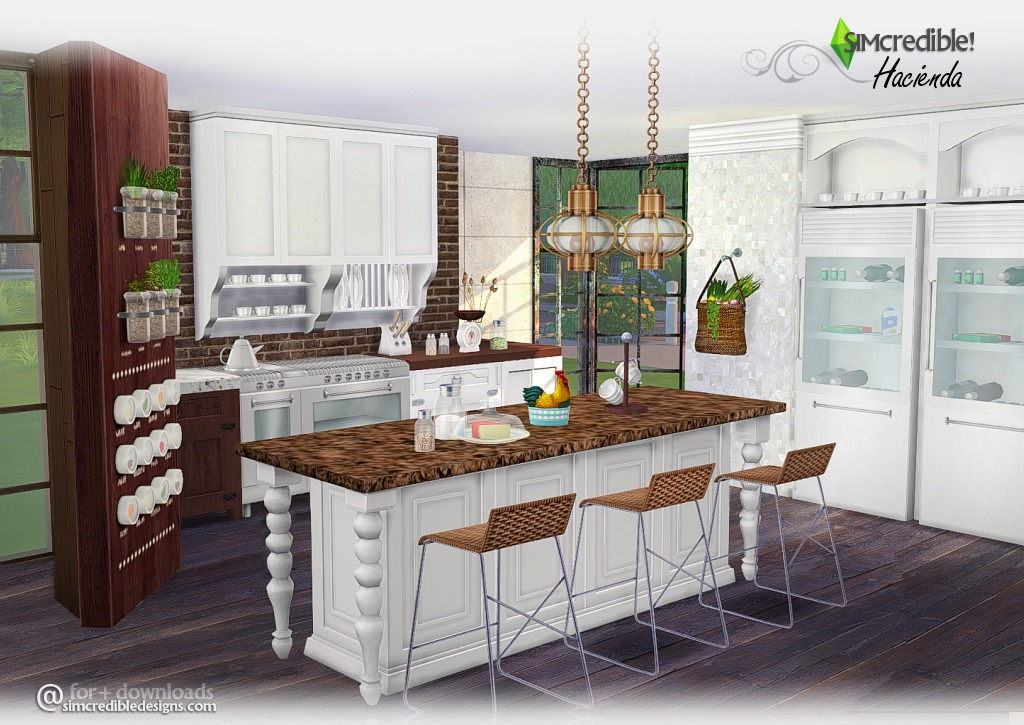 My Sims 4 Blog Hacienda Kitchen Set By Simcredible Designs