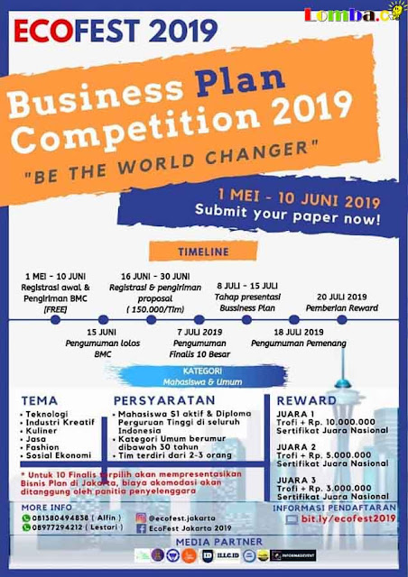 Lomba Bisnis Plan Nasional EcoFest 2019 Untuk Mahasiswa & Umum