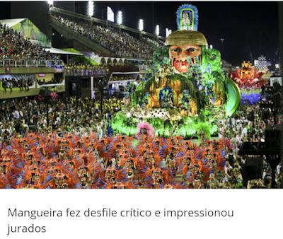 ae8651c85 A Estação Primeira de Mangueira é a grande campeã do Carnaval do Rio de  Janeiro de 2019. A escola desfilou na segunda-feira (4)