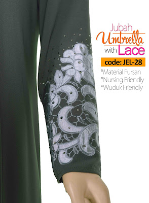 Jubah Umbrella Lace JEL-28 Grey Tangan 2