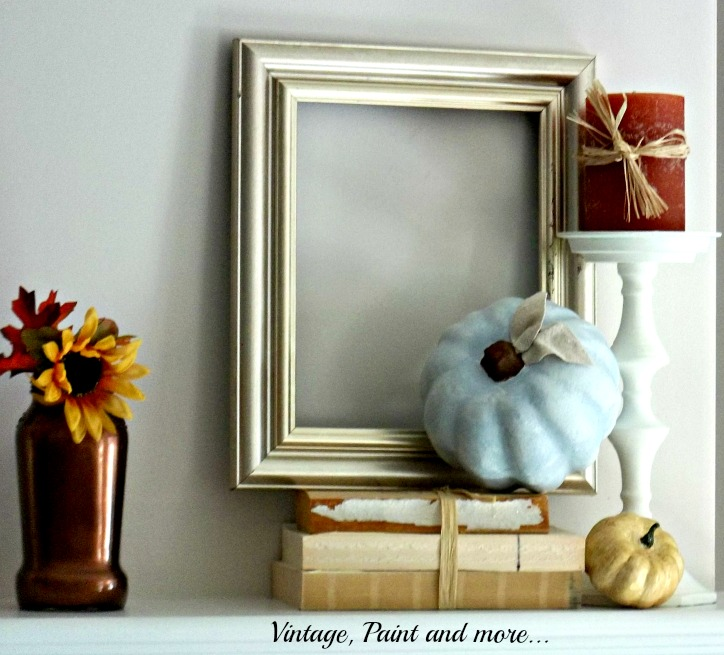 Vintage, Paint and more... vintage fall mantel of metallics and powder blues with white