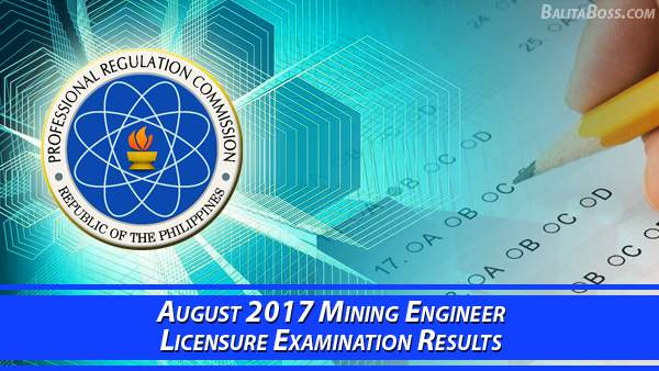 Mining Engineer August 2017 Board Exam