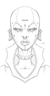portrait of bald woman with third eye