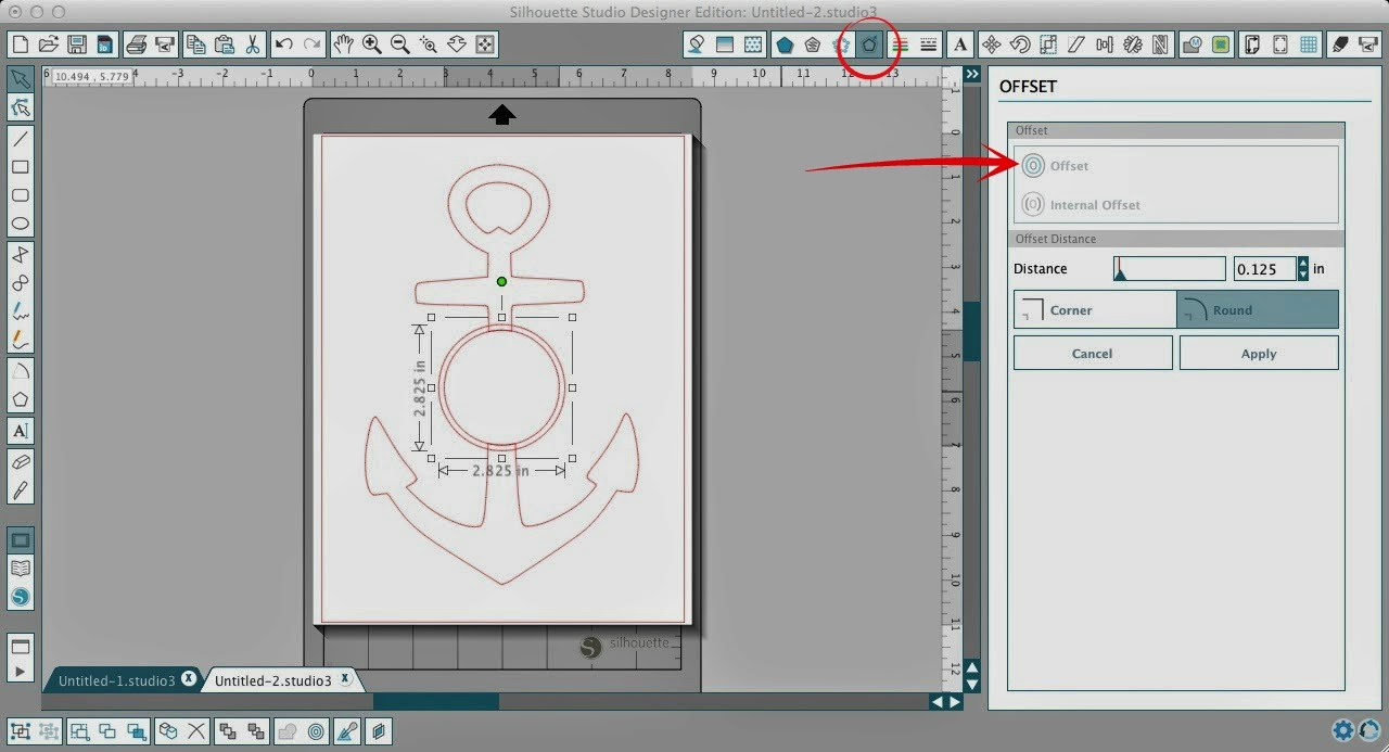 Circle, split anchor, Silhouette Studio, Silhouette tutorial, offset tool