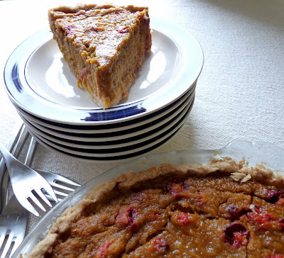 Honeyed Pumpkin-Cranberry Pie