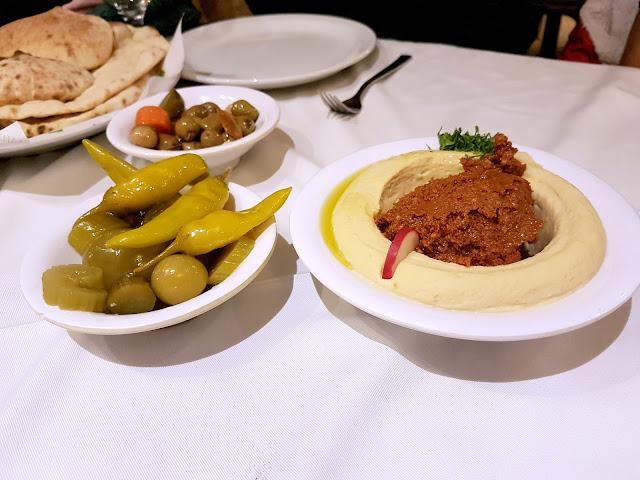 Hummus with Muhammara from Assaha, Kuwait