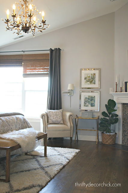 Whitestone light gray walls dark drapes