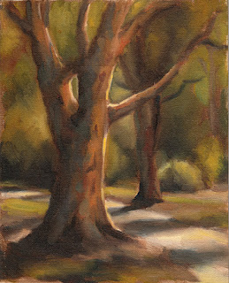 Oil painting of two eucalypts separated by a path.