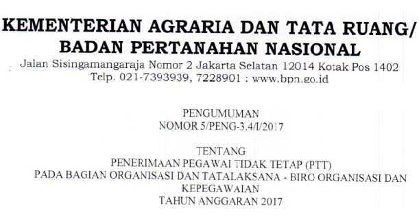 Lowongan Kerja Non CPNS, Lowongan Kementerian Agraria dan Tata Ruang