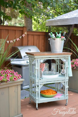 Repurposed side table into Outdoor Portable Beverage Bar Cart