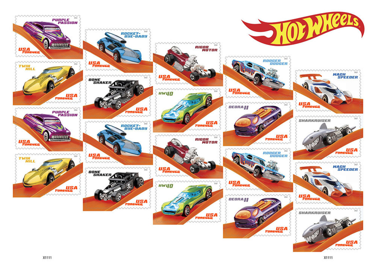 in celebration of the 50th anniversary of hot wheels the united states postal service will issue 20 forever stamps showcasing some of the most outrageous