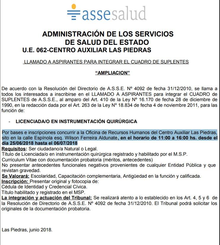 Licenciados en Instrumentación quirúrgica Asse 2018