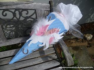Schultüte gebastelt, mal nicht pink oder rosa sondern blau