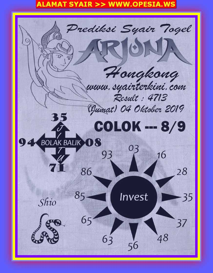 Kode syair Hongkong Jumat 4 Oktober 2019 128