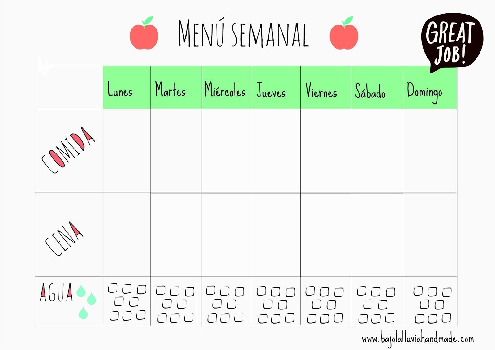 10 plantillas de menú semanal