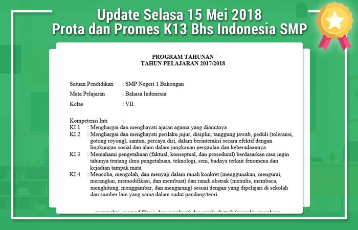 Update Selasa 15 Mei 2018 Prota dan Promes K13 Bahasa Indonesia SMP