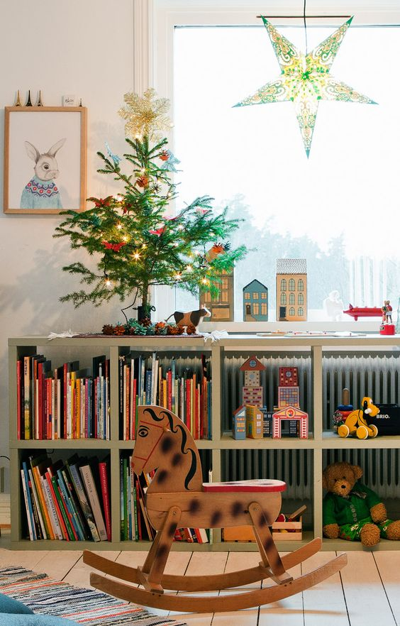 Swedish Farmhouse Christmas Decorating Interior Design colorful toys