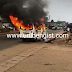 PHOTOS/VIDEO: Commuters escape death, as Uniben Shuttle bus catches fire on motion