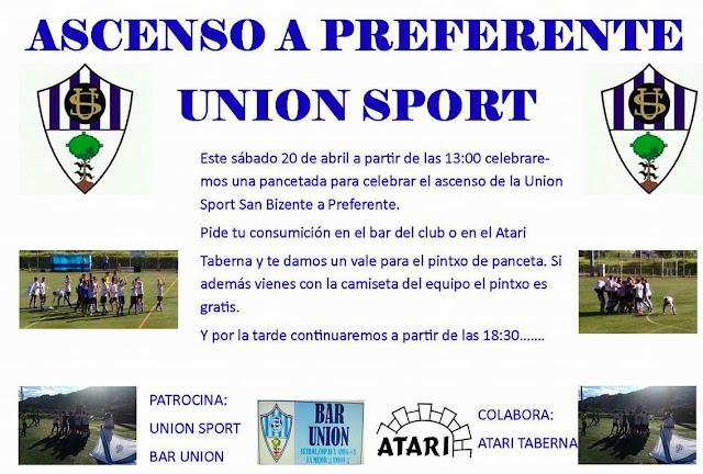 Fútbol | La Unión Sport San Vicente celebra este sábado en su barrio el ascenso a Preferente