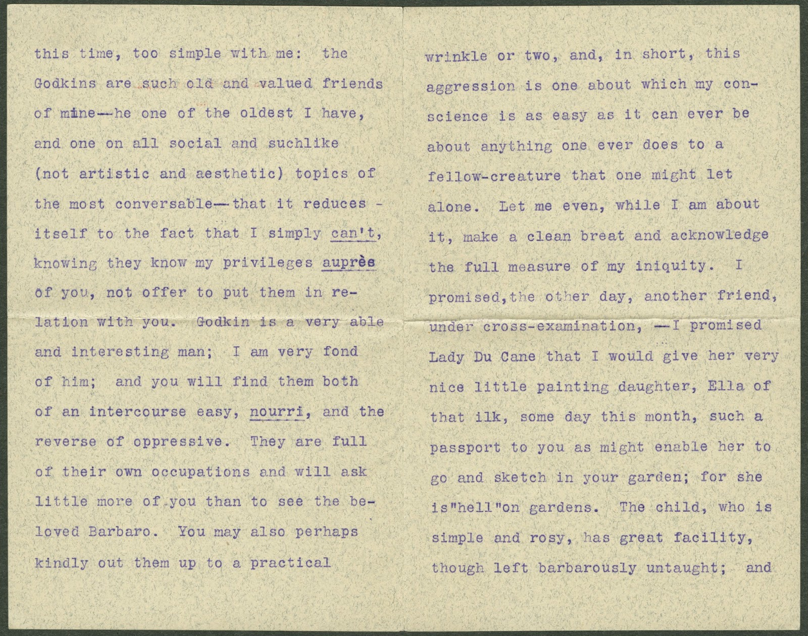 Further pages from the typed letter.