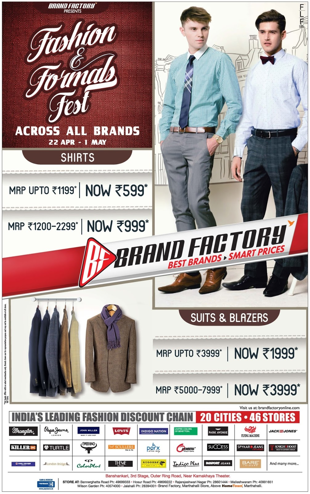 Brand factory Fashion & Formals Fest | April 2016 discount offers | festive offers