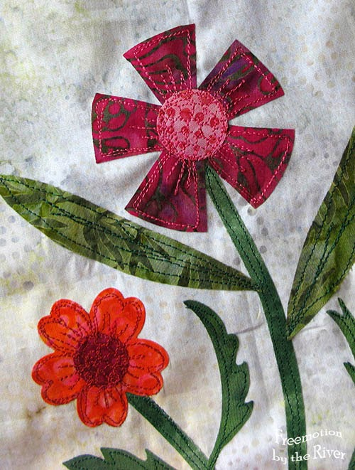 Raw edge applique flowers at Freemotion by the River