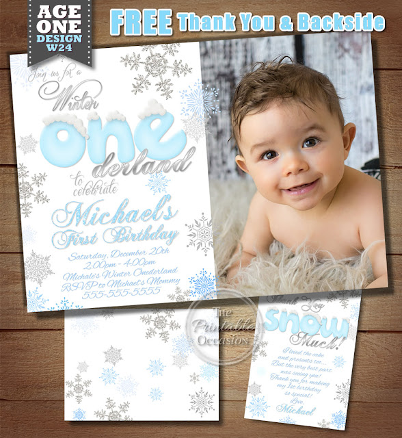 The Printable Occasion Party Printables Boys Winter ONEderland – Snowflake Birthday Invitations