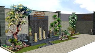 water wall dan kolam koi tukang taman surabaya jasa taman surabaya