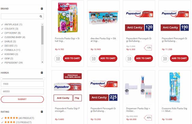 Macam-macam produk yang dijual di Alfacart